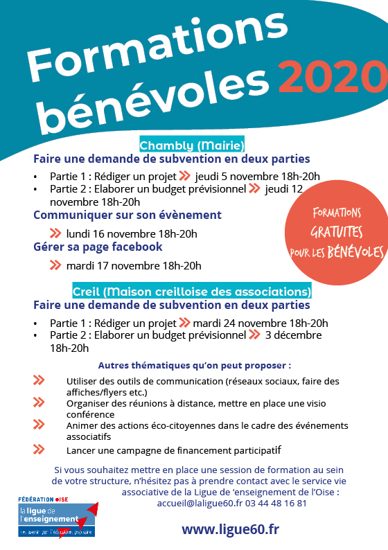 Flyer formation benevole 2020 2021